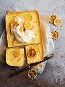 Lemon curd custard tart