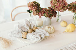 Autumnal arrangement of pumpkins, hydrangeas and linen napkins on table
