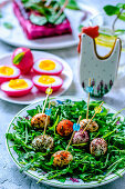 Easter quail eggs in a variety of spices