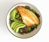 Quinoa salad with seabass, edamame and avocado