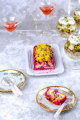 Herring in red beetroot and vegetable salads for New Year's Eve