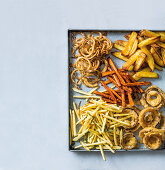 Duck fat chips, crispy onion tangles, sweet potato chips, beer-battered onion rings and shoestring fries