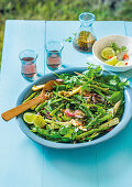Asian-style green salad with grill asparagus