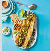 Curried snoek with apricot stuffing