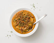 Lentil soup with bacon and noodles