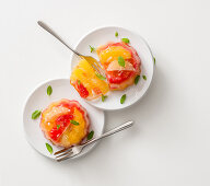 Citrus fruits in champagne jelly