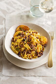 Tagliatelle with port wine and orange duck ragout and rosemary