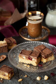 Millionaires Caramel Shortbread Bars with Dried Fruit and Nuts, Served with Coffee