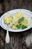 Potato salad with gherkins