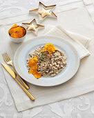 Porcini mushrooms risotto with pumpkin crisps