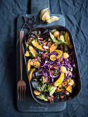 Pumpkin and red cabbage salad with cape gooseberries