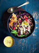 Grape and spinach salad with bacon, nuts and mushrooms