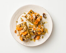 Grilled buckwheat and polenta with pumpkin and dried fruit