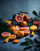 A still life with different citrus fruits