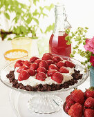 Strawberry tart with a chocolate cornflake base