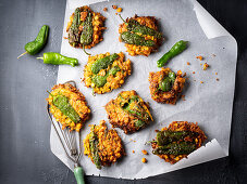 Fritters with green chilli peppers
