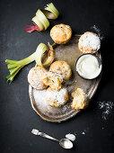 Rhubarb scones with icing sugar