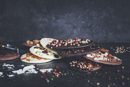 Homemade chocolate with various flavours