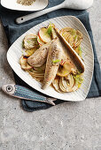 Oven-roasted gurnard fillets with fennel and apple