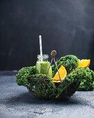 Vegan kale and orange smoothies