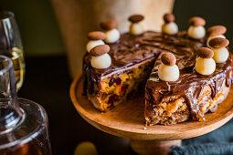 Simnal cake with chocolate glaze for Easter high tea