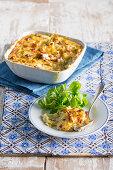 Potato casserole with leeks and bacon