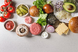 Ingredients for homemade hamburgers