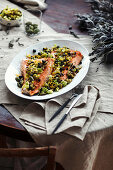 Pan-fried salmon with pine-nut salsa