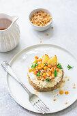 Ginger bread spongecake with ricotta, buckthorns and honey
