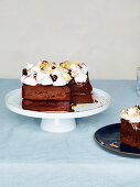 Rocky road cake with milk chocolate ganache