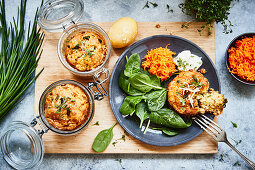 Ham and cheese muffins with carrots and spinach