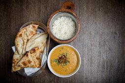 Dal Tadka with Rice and Naan (India)