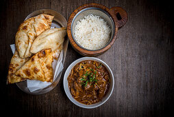Dhan Sakh with rice and naan (India)