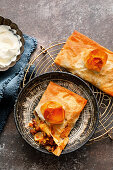 Moroccan pasties with apples and vanilla cream