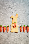 Easter Bunny biscuits with marzipan carrots