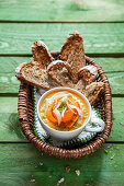 Carrot and fennel soup with sourdough bread