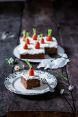 Carrot cake with a cream cheese topping