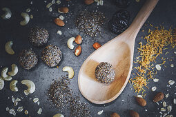 Energy balls with seeds, grains and dried plums