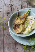White wine risotto with roasted fennel