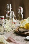 Elderflower syrup in flip-top glass bottles