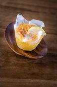 A lemon muffin with a sugar glaze