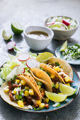 Tacos al pastor, with pork and pineapple