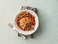 Spaghetti with spicy octopus sauce