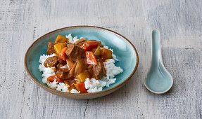 Japanese rice with curried meat and potatoes