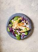 Rotkohl-Spinat-Salat mit Hähnchen