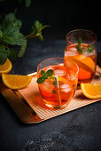 Aperol Spritz (a cocktail of bitter orange liqueur, white wine and sparkling water)