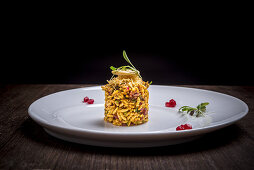 Bhel Puri (a snack of puffed rice, vegetables and tamarind sauce, India)