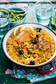 Saffron and lemon rice with chicken