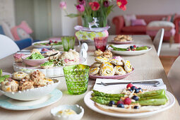 A table set with Easter treats