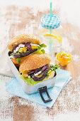 Veggie burgers with eggplant, tomato, feta and mango chutney